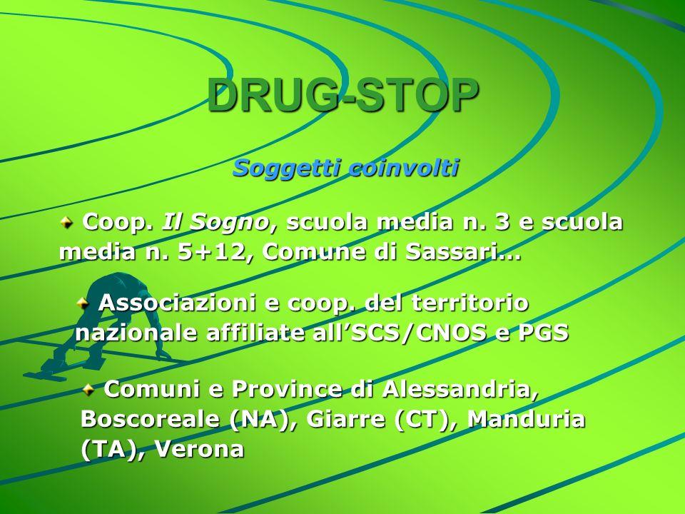 DRUG-STOP Soggetti coinvolti Coop. Il Sogno, scuola media n.