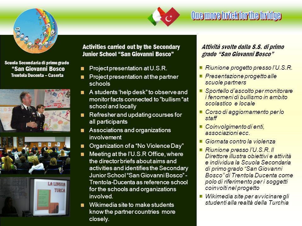 Riunione progetto presso lU.S.R. Presentazione progetto alle scuole partners Sportello dascolto per monitorare i fenomeni di bullismo in ambito scolas