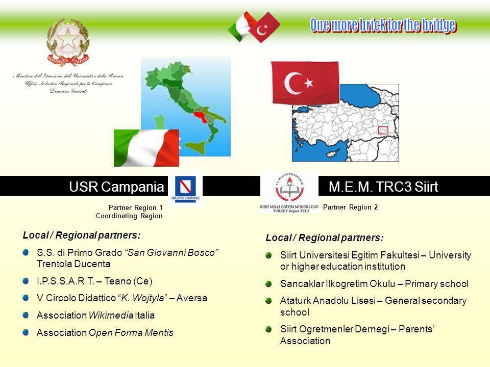 USR Campania M.E.M. TRC3 Siirt Local / Regional partners: S.S. di Primo Grado San Giovanni Bosco Trentola Ducenta I.P.S.S.A.R.T. – Teano (Ce) V Circol