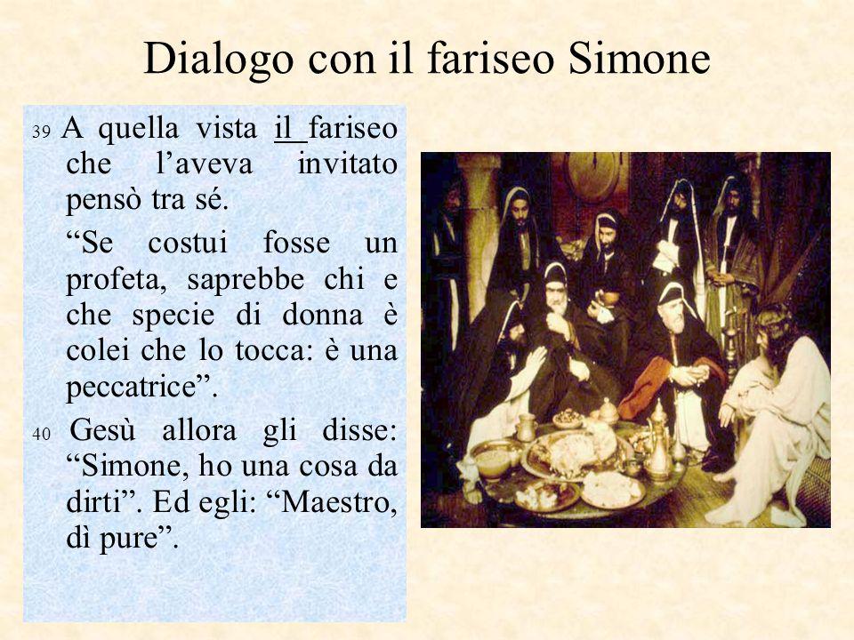 Dialogo con il fariseo Simone 39 A quella vista il fariseo che laveva invitato pensò tra sé. Se costui fosse un profeta, saprebbe chi e che specie di