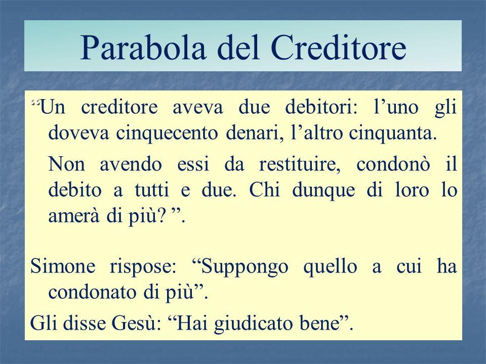 Parabola del Creditore Un creditore aveva due debitori: luno gli doveva cinquecento denari, laltro cinquanta. Non avendo essi da restituire, condonò i