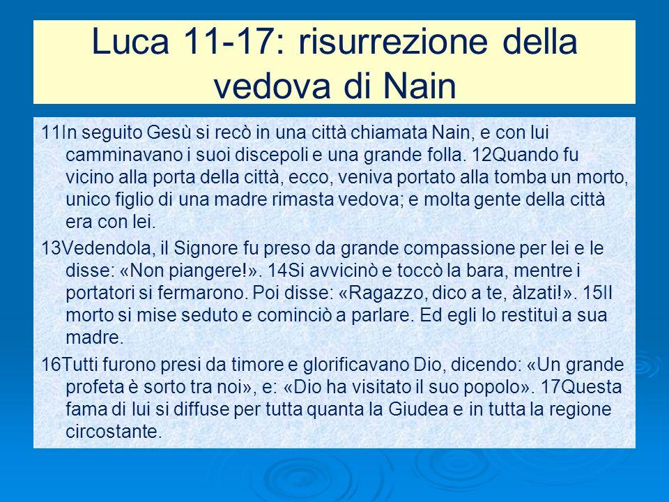 Luca 11-17: risurrezione della vedova di Nain 11In seguito Gesù si recò in una città chiamata Nain, e con lui camminavano i suoi discepoli e una grand