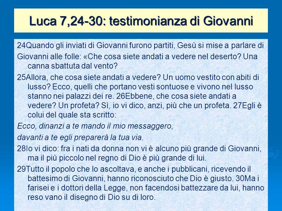 Luca 7,24-30: testimonianza di Giovanni 24Quando gli inviati di Giovanni furono partiti, Gesù si mise a parlare di Giovanni alle folle: «Che cosa siet