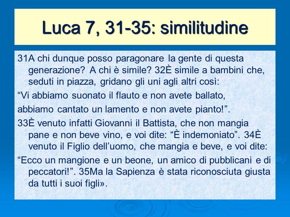 Luca 7, 31-35: similitudine 31A chi dunque posso paragonare la gente di questa generazione? A chi è simile? 32È simile a bambini che, seduti in piazza