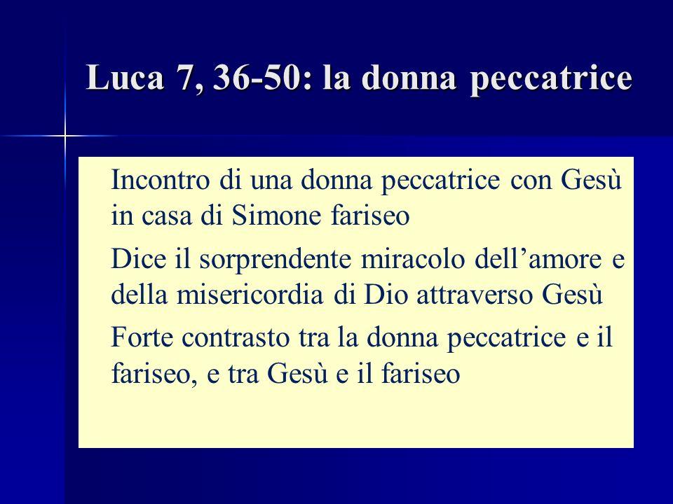 Luca 7, 36-50: la donna peccatrice Incontro di una donna peccatrice con Gesù in casa di Simone fariseo Dice il sorprendente miracolo dellamore e della