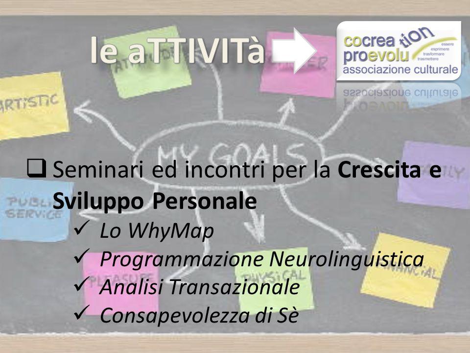 Seminari ed incontri per la Crescita e Sviluppo Personale Lo WhyMap Programmazione Neurolinguistica Analisi Transazionale Consapevolezza di Sè