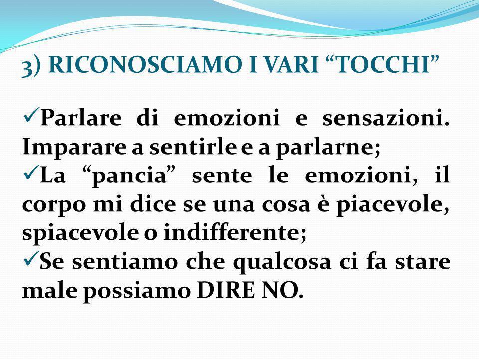 3) RICONOSCIAMO I VARI TOCCHI Parlare di emozioni e sensazioni.