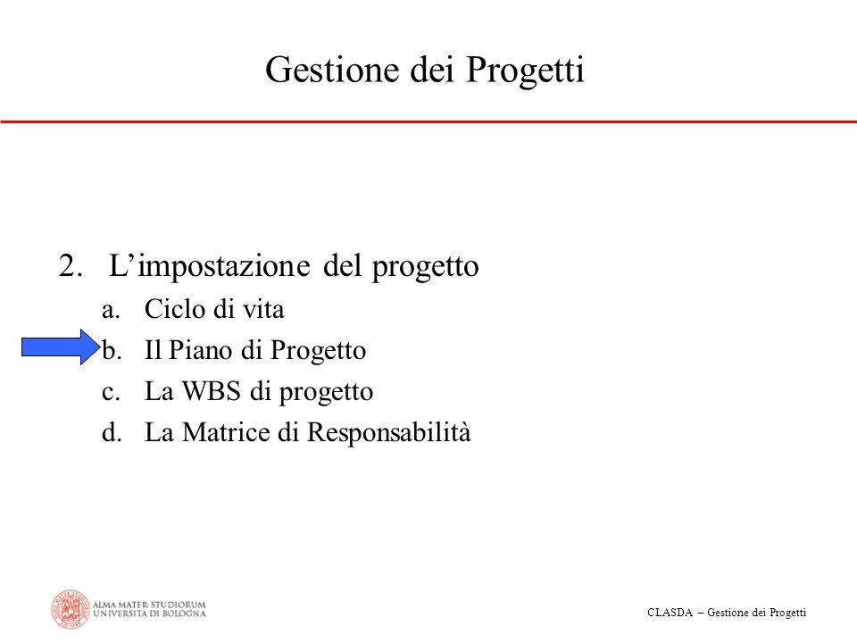 CLASDA – Gestione dei Progetti Gestione dei Progetti 2.Limpostazione del progetto a.Ciclo di vita b.Il Piano di Progetto c.La WBS di progetto d.La Mat
