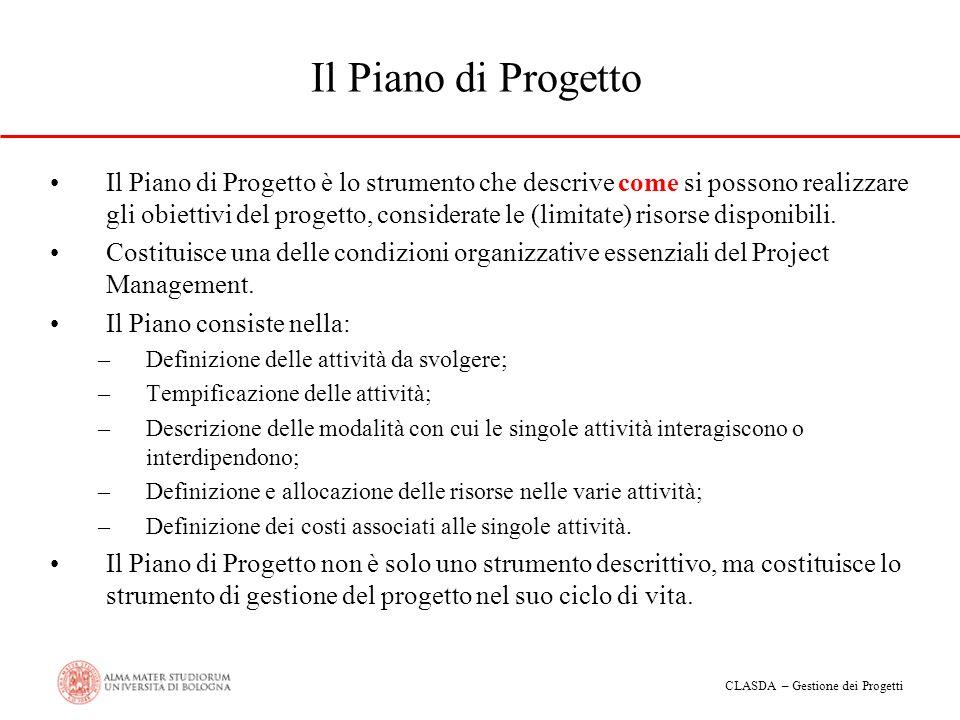 CLASDA – Gestione dei Progetti Il Piano di Progetto Il Piano di Progetto è lo strumento che descrive come si possono realizzare gli obiettivi del prog