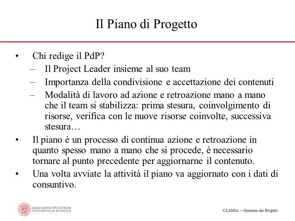 CLASDA – Gestione dei Progetti Il Piano di Progetto Chi redige il PdP? –Il Project Leader insieme al suo team –Importanza della condivisione e accetta