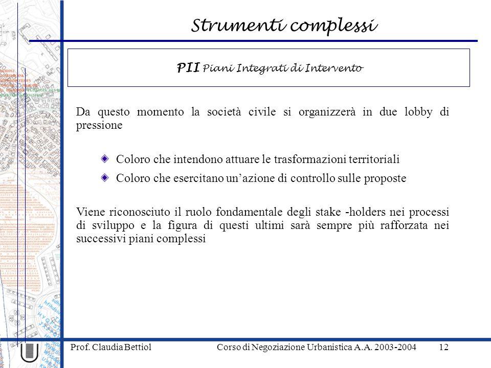 Strumenti complessi Prof. Claudia Bettiol Corso di Negoziazione Urbanistica A.A. 2003-200412 Da questo momento la società civile si organizzerà in due