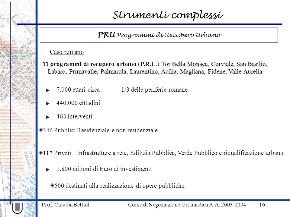 Strumenti complessi Prof. Claudia Bettiol Corso di Negoziazione Urbanistica A.A. 2003-200416 Caso romano Tor Bella Monaca, Corviale, San Basilio, Laba