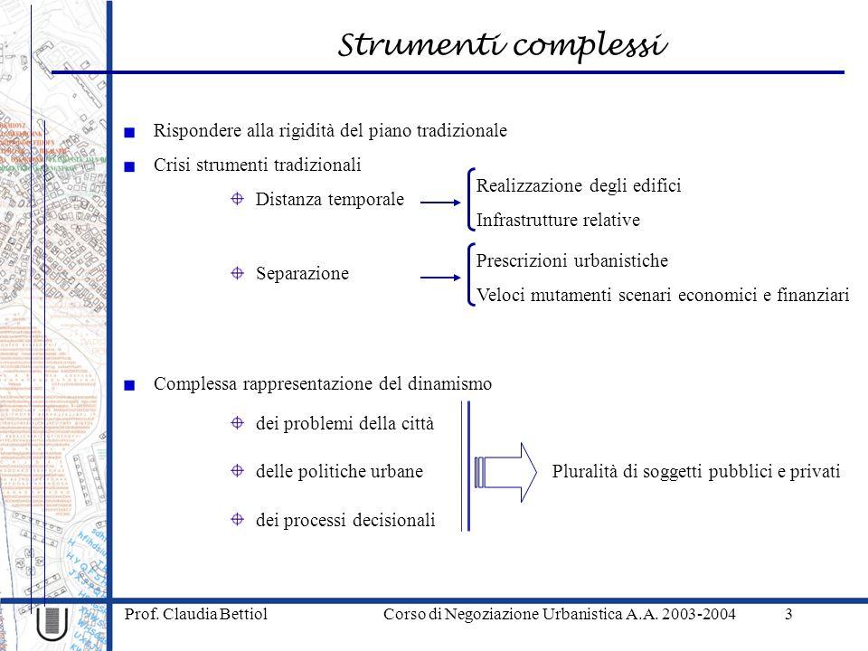 Strumenti complessi Prof. Claudia Bettiol Corso di Negoziazione Urbanistica A.A. 2003-20043 Complessa rappresentazione del dinamismo Crisi strumenti t
