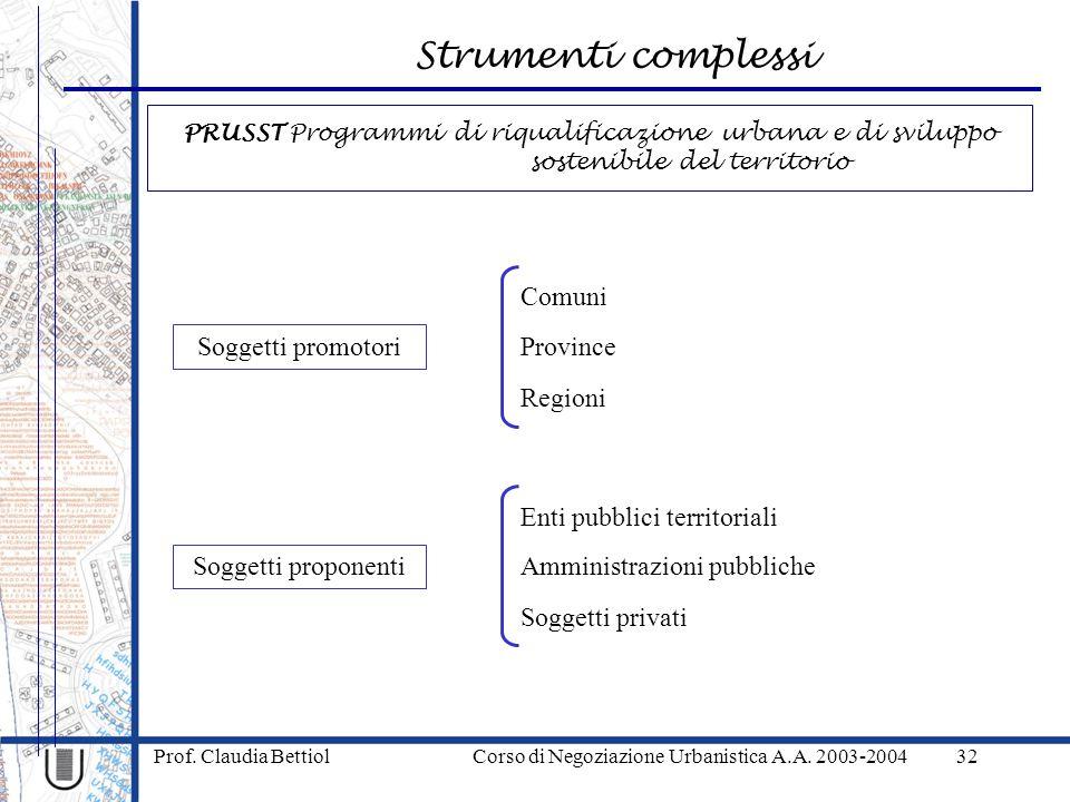 Strumenti complessi Prof. Claudia Bettiol Corso di Negoziazione Urbanistica A.A. 2003-200432 Soggetti promotori Province Regioni Comuni Soggetti propo