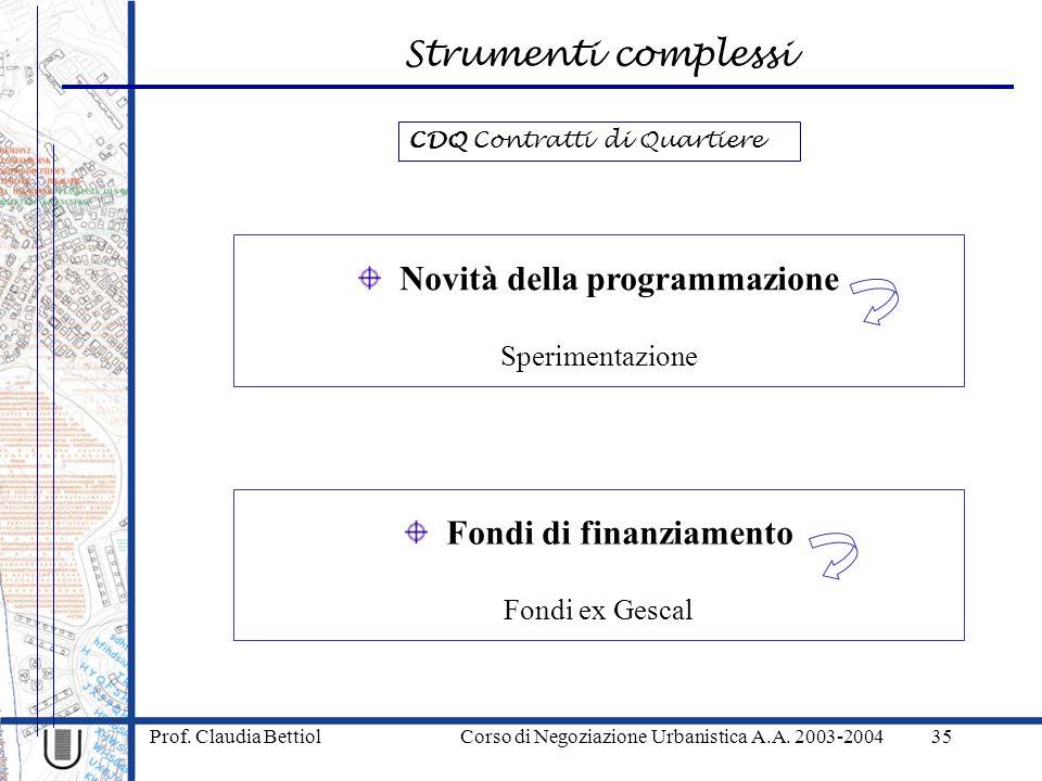 Strumenti complessi Prof. Claudia Bettiol Corso di Negoziazione Urbanistica A.A. 2003-200435 Novità della programmazione Sperimentazione Fondi di fina