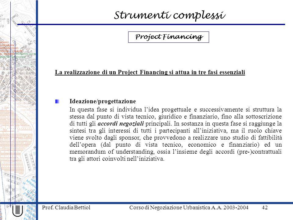 Strumenti complessi Prof. Claudia Bettiol Corso di Negoziazione Urbanistica A.A. 2003-200442 Ideazione/progettazione In questa fase si individua lidea