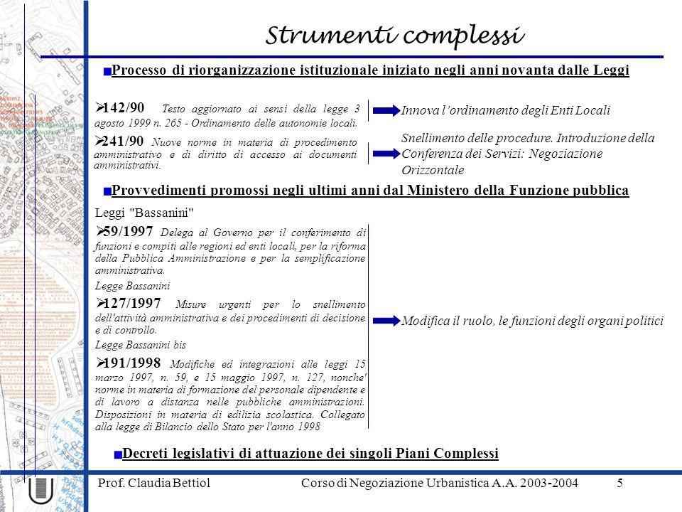 Strumenti complessi Prof. Claudia Bettiol Corso di Negoziazione Urbanistica A.A. 2003-20045 Processo di riorganizzazione istituzionale iniziato negli