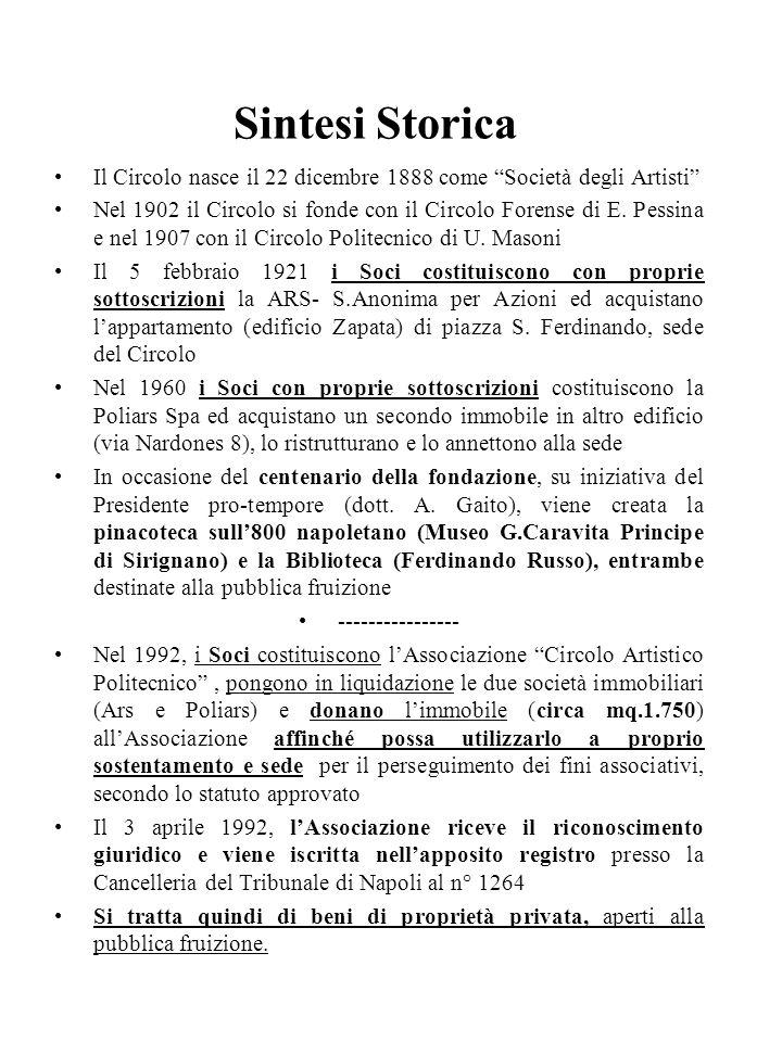 Sintesi Storica Il Circolo nasce il 22 dicembre 1888 come Società degli Artisti Nel 1902 il Circolo si fonde con il Circolo Forense di E. Pessina e ne