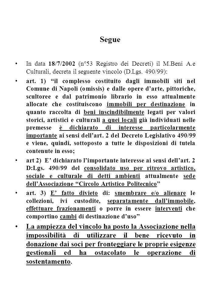 Segue In data 18/7/2002 (n°53 Registro dei Decreti) il M.Beni A.e Culturali, decreta il seguente vincolo (D.Lgs. 490/99): art. 1) il complesso costitu