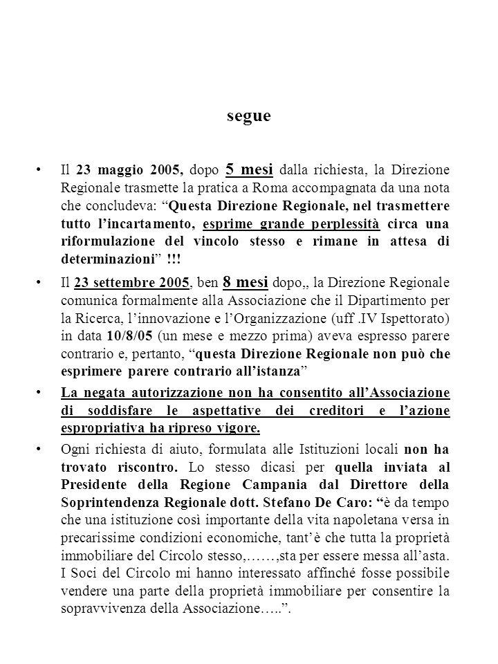 segue Il 23 maggio 2005, dopo 5 mesi dalla richiesta, la Direzione Regionale trasmette la pratica a Roma accompagnata da una nota che concludeva: Ques
