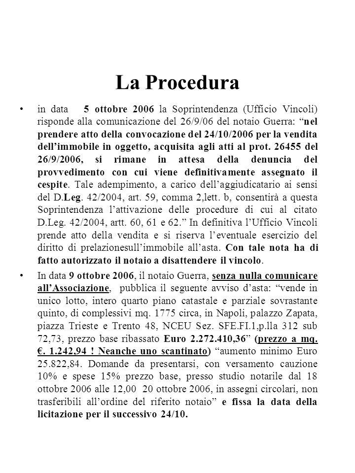La Procedura in data 5 ottobre 2006 la Soprintendenza (Ufficio Vincoli) risponde alla comunicazione del 26/9/06 del notaio Guerra: nel prendere atto d