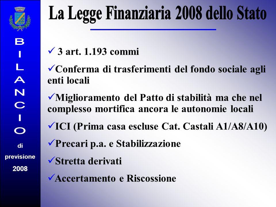 3 art. 1.193 commi C onferma di trasferimenti del fondo sociale agli enti locali M iglioramento del Patto di stabilità ma che nel complesso mortifica