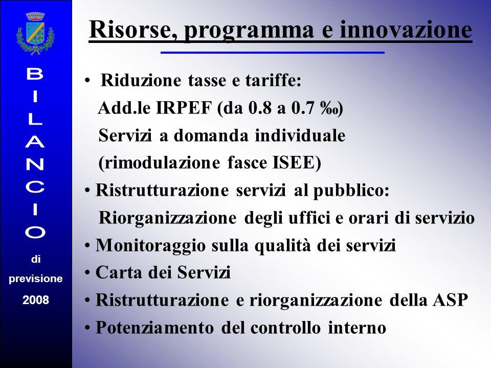 di previsione 2008 Riduzione tasse e tariffe: Add.le IRPEF (da 0.8 a 0.7 ) Servizi a domanda individuale (rimodulazione fasce ISEE) Ristrutturazione servizi al pubblico: Riorganizzazione degli uffici e orari di servizio Monitoraggio sulla qualità dei servizi Carta dei Servizi Ristrutturazione e riorganizzazione della ASP Potenziamento del controllo interno Risorse, programma e innovazione