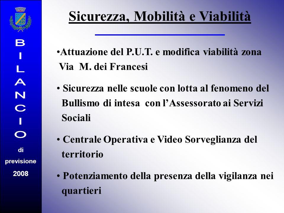 di previsione 2008 Sicurezza, Mobilità e Viabilità Attuazione del P.U.T. e modifica viabilità zona Via M. dei Francesi Sicurezza nelle scuole con lott