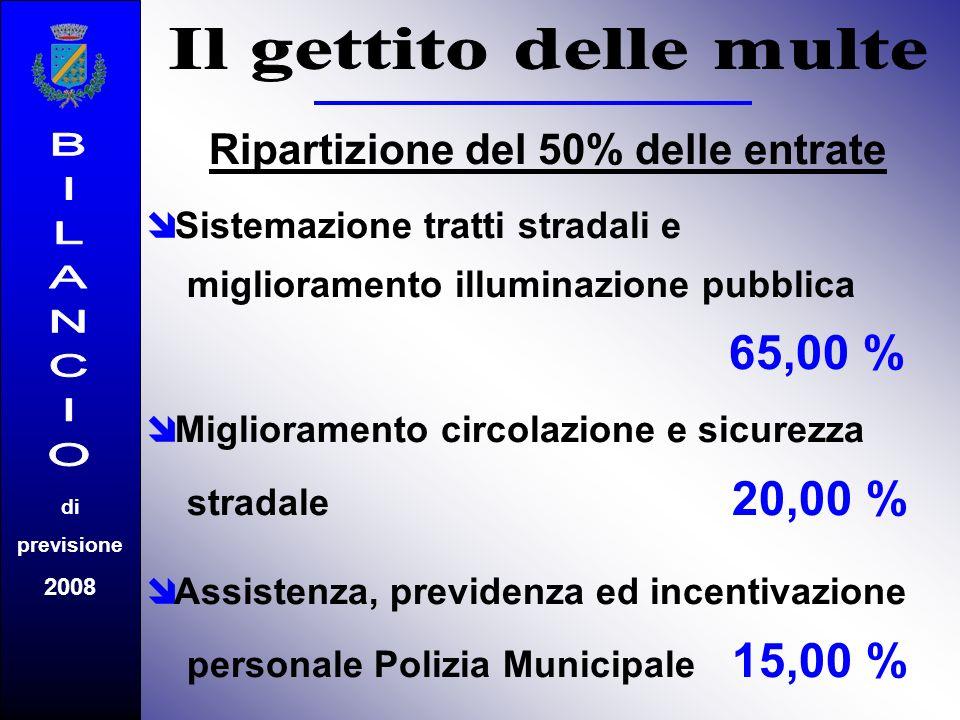 Ripartizione del 50% delle entrate Sistemazione tratti stradali e miglioramento illuminazione pubblica 65,00 % Miglioramento circolazione e sicurezza