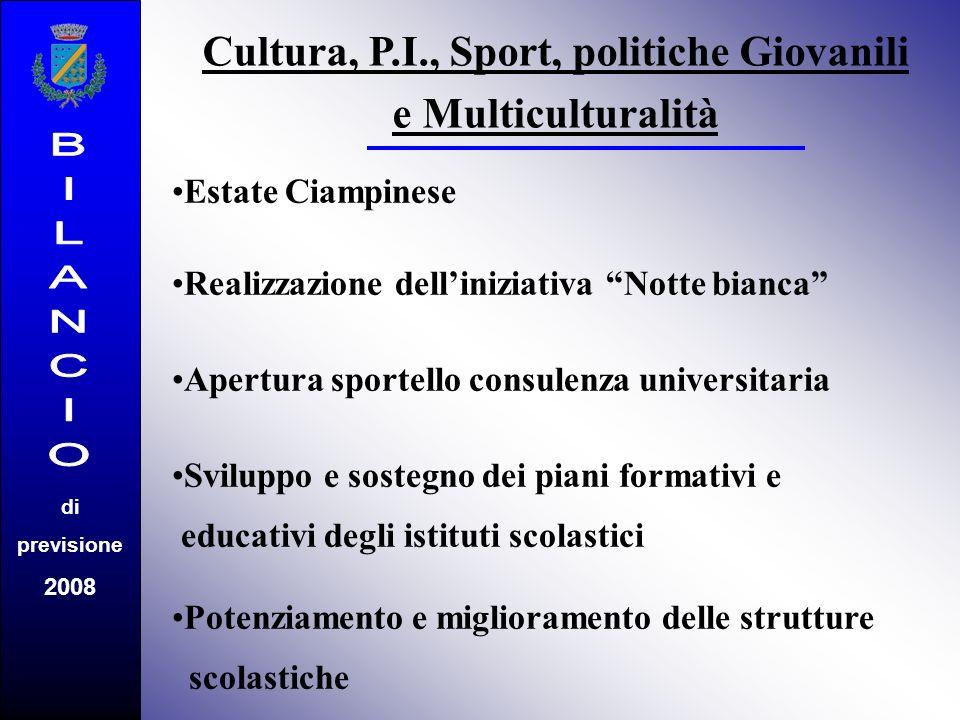 di previsione 2008 Cultura, P.I., Sport, politiche Giovanili e Multiculturalità Estate Ciampinese Realizzazione delliniziativa Notte bianca Apertura s