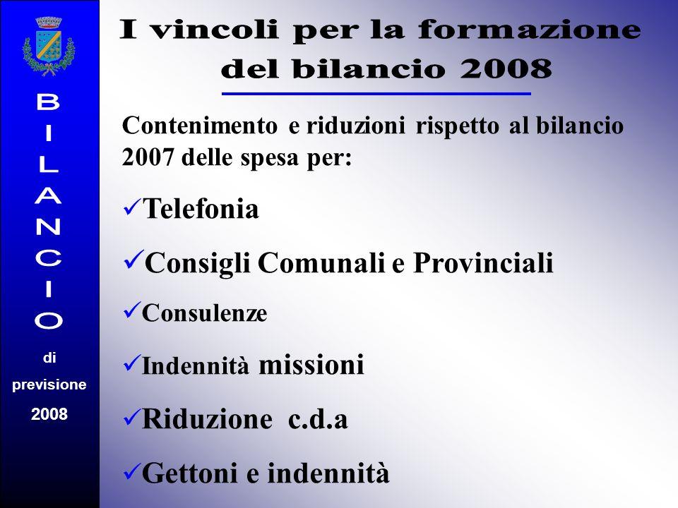 Contenimento e riduzioni rispetto al bilancio 2007 delle spesa per: Telefonia C onsigli Comunali e Provinciali C onsulenze I ndennità missioni Riduzio