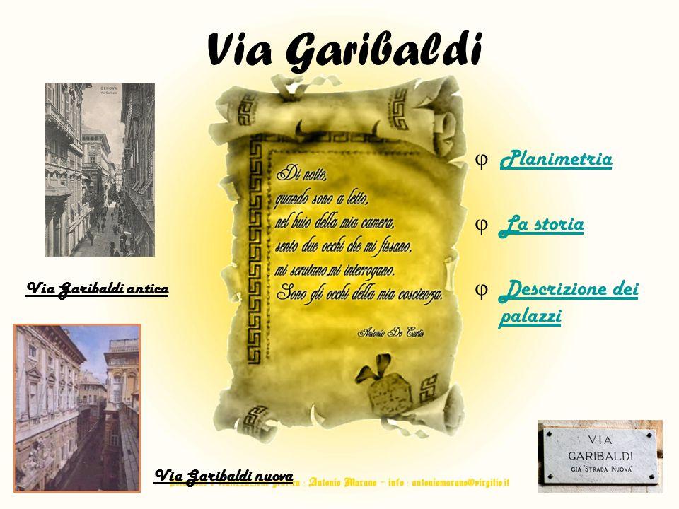 Planimetria La storia Descrizione dei palazzi Descrizione dei palazzi Via Garibaldi antica Via Garibaldi nuova Via Garibaldi