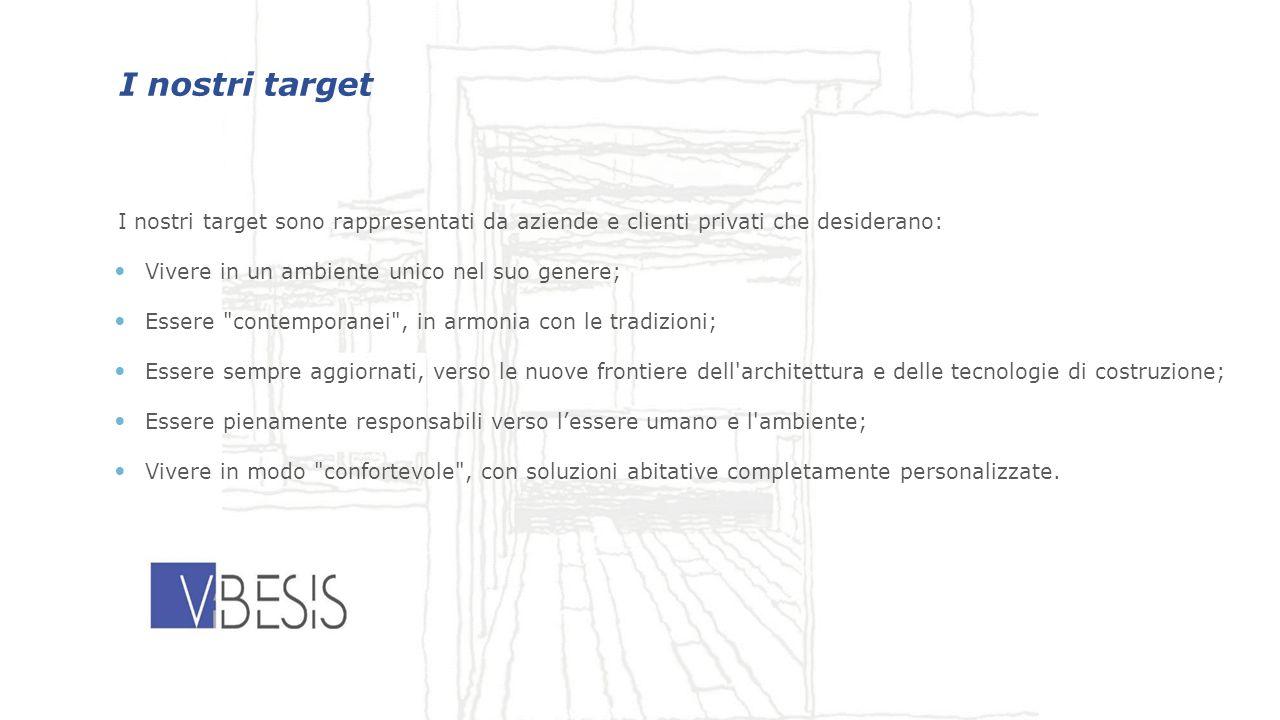 I nostri target I nostri target sono rappresentati da aziende e clienti privati che desiderano: Vivere in un ambiente unico nel suo genere; Essere