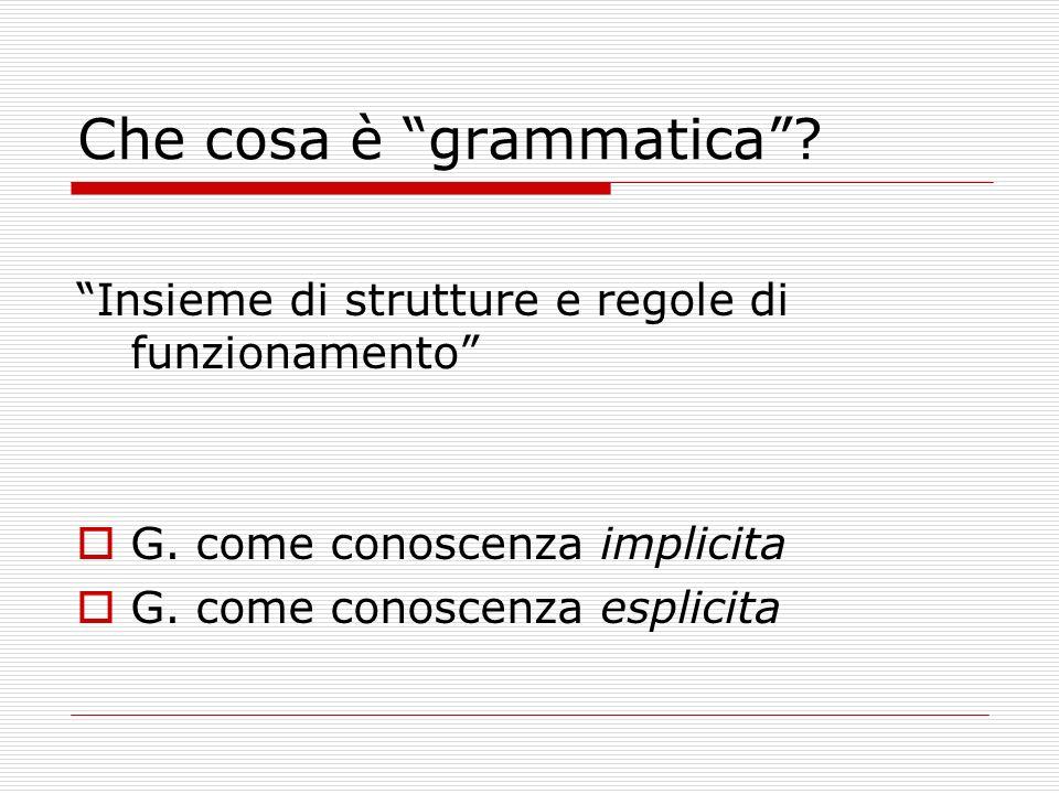 Che cosa è grammatica? Insieme di strutture e regole di funzionamento G. come conoscenza implicita G. come conoscenza esplicita