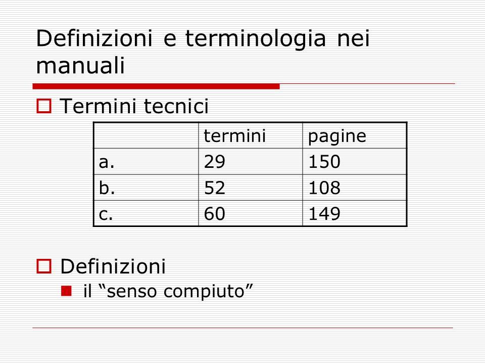 Definizioni e terminologia nei manuali Termini tecnici Definizioni il senso compiuto terminipagine a.29150 b.52108 c.60149
