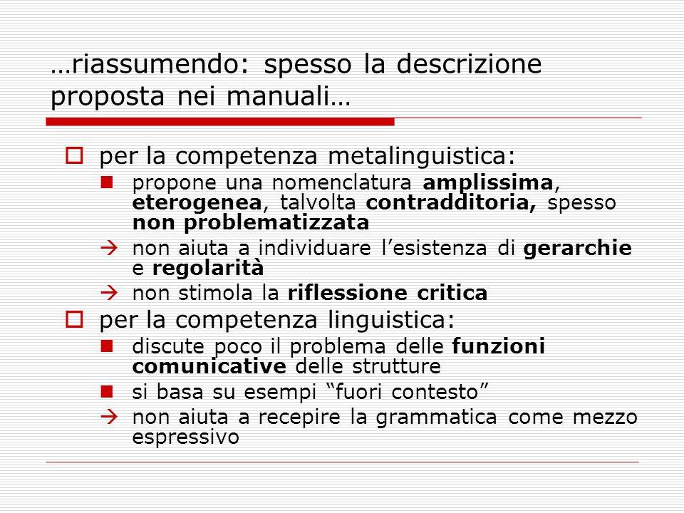 …riassumendo: spesso la descrizione proposta nei manuali… per la competenza metalinguistica: propone una nomenclatura amplissima, eterogenea, talvolta