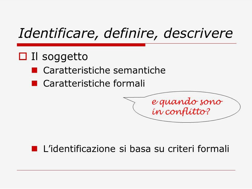 Identificare, definire, descrivere Il soggetto Caratteristiche semantiche Caratteristiche formali Lidentificazione si basa su criteri formali e quando