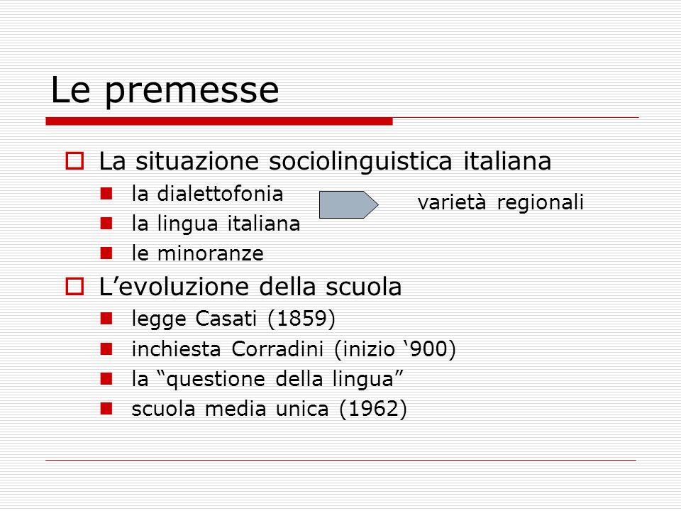 Le premesse La situazione sociolinguistica italiana la dialettofonia la lingua italiana le minoranze Levoluzione della scuola legge Casati (1859) inch