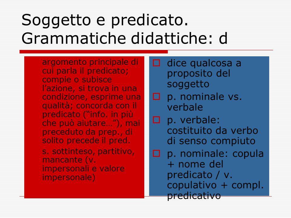 Soggetto e predicato. Grammatiche didattiche: d argomento principale di cui parla il predicato; compie o subisce lazione, si trova in una condizione,