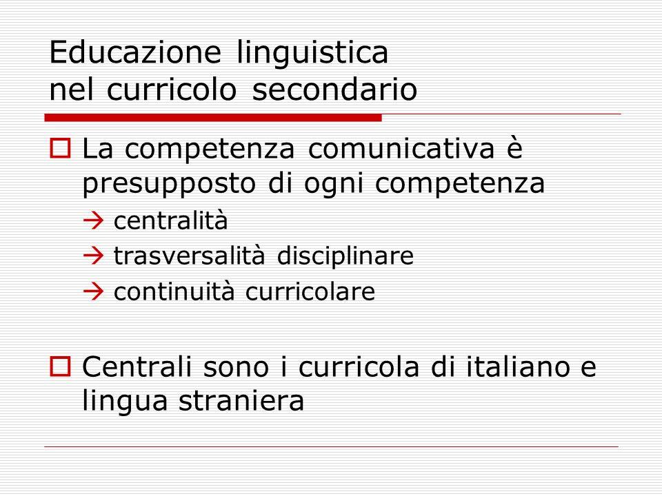 Educazione linguistica nel curricolo secondario La competenza comunicativa è presupposto di ogni competenza centralità trasversalità disciplinare cont