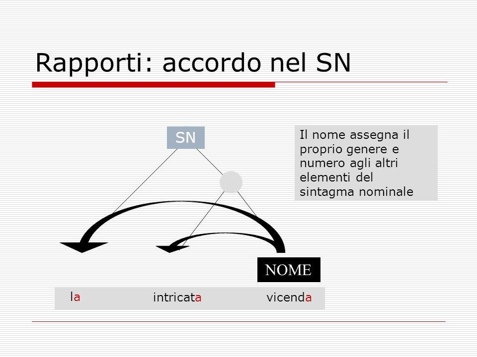 Rapporti: accordo nel SN NOME vicendaintricata lala Il nome assegna il proprio genere e numero agli altri elementi del sintagma nominale SN
