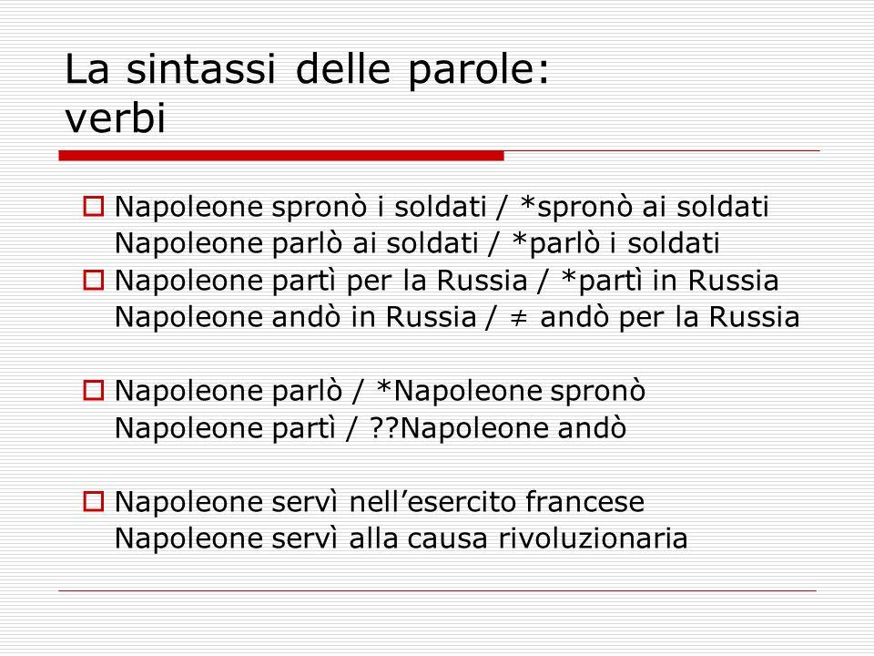 La sintassi delle parole: verbi Napoleone spronò i soldati / *spronò ai soldati Napoleone parlò ai soldati / *parlò i soldati Napoleone partì per la R