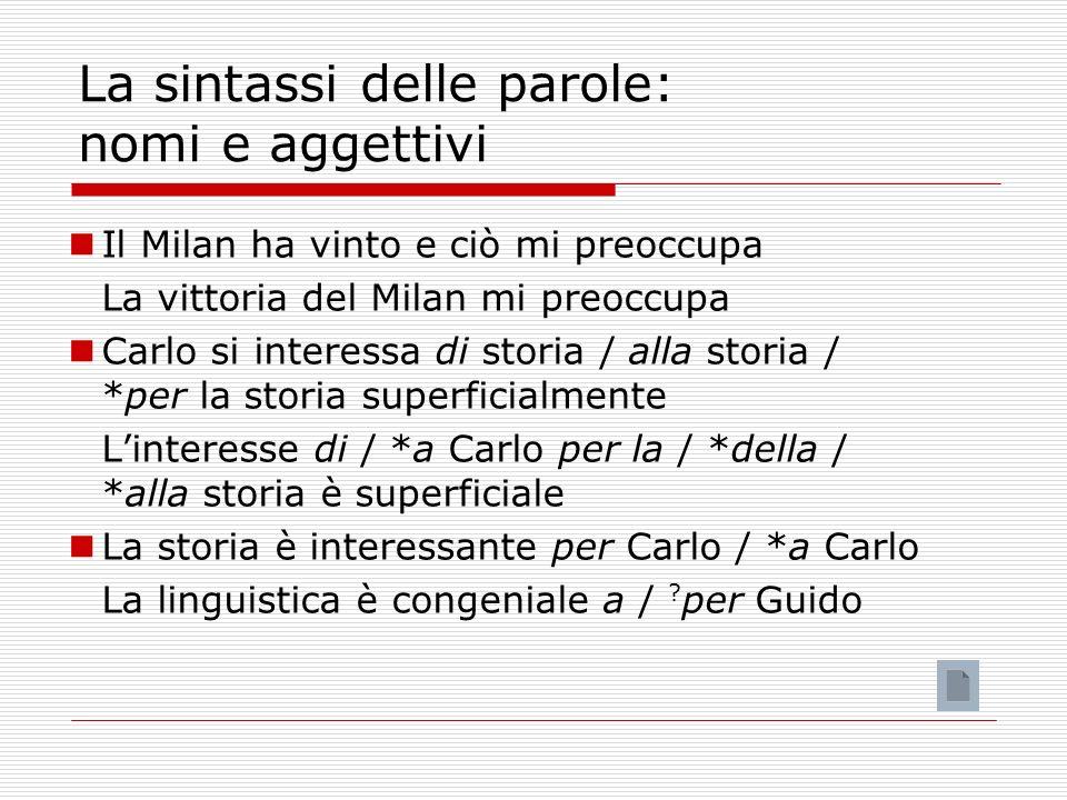 La sintassi delle parole: nomi e aggettivi Il Milan ha vinto e ciò mi preoccupa La vittoria del Milan mi preoccupa Carlo si interessa di storia / alla