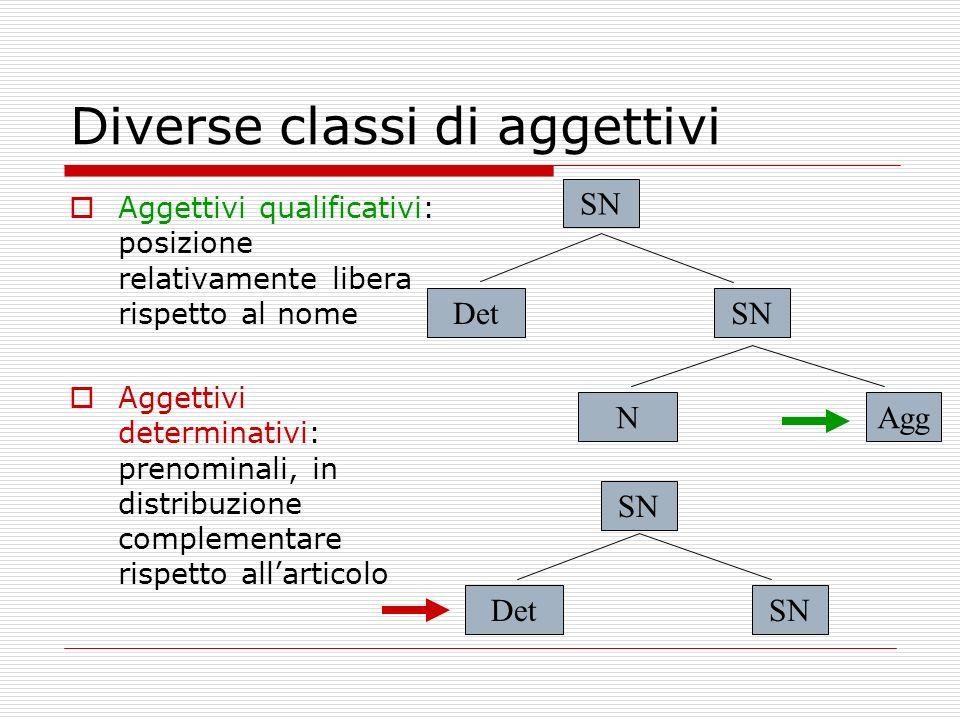 Diverse classi di aggettivi Aggettivi qualificativi: posizione relativamente libera rispetto al nome Aggettivi determinativi: prenominali, in distribu