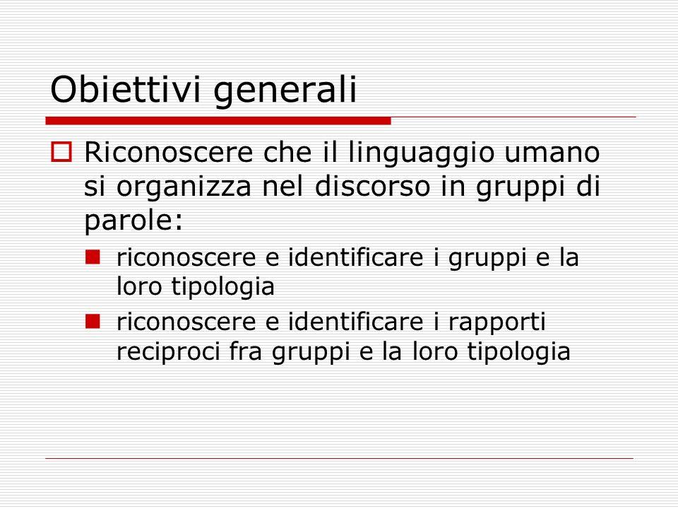 Obiettivi generali Riconoscere che il linguaggio umano si organizza nel discorso in gruppi di parole: riconoscere e identificare i gruppi e la loro ti