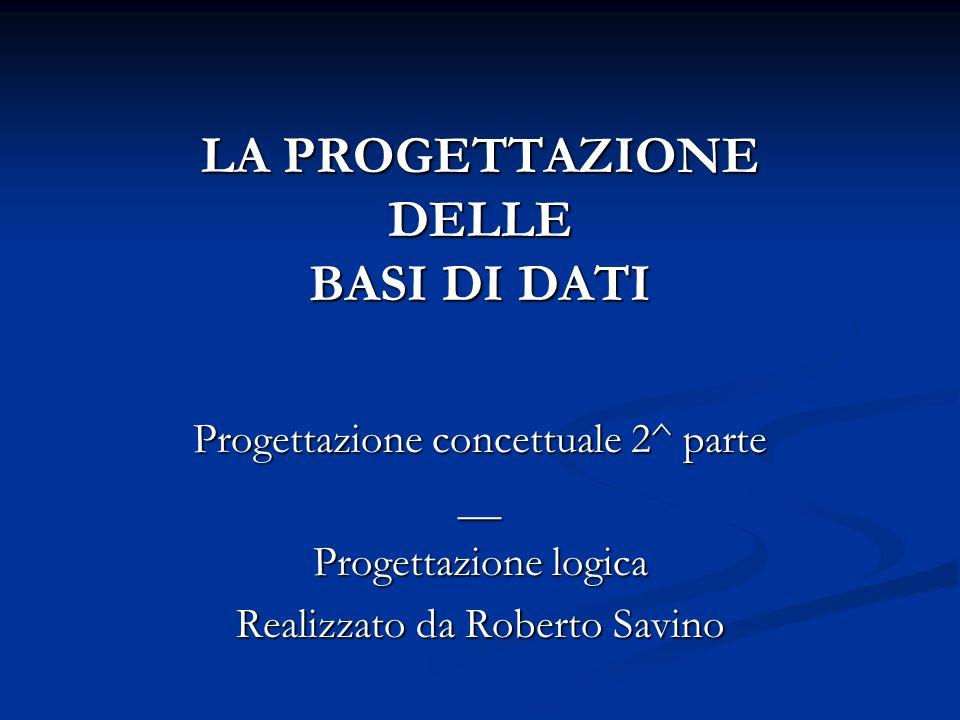 LA PROGETTAZIONE DELLE BASI DI DATI Progettazione concettuale 2^ parte __ Progettazione logica Realizzato da Roberto Savino
