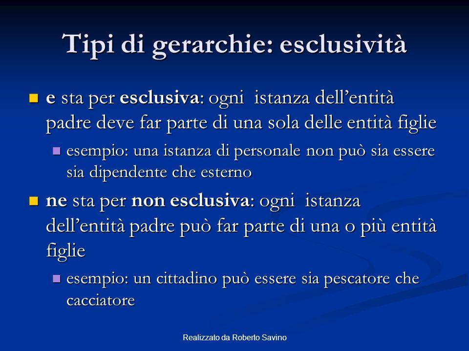 Realizzato da Roberto Savino Tipi di gerarchie: esclusività e sta per esclusiva: ogni istanza dellentità padre deve far parte di una sola delle entità