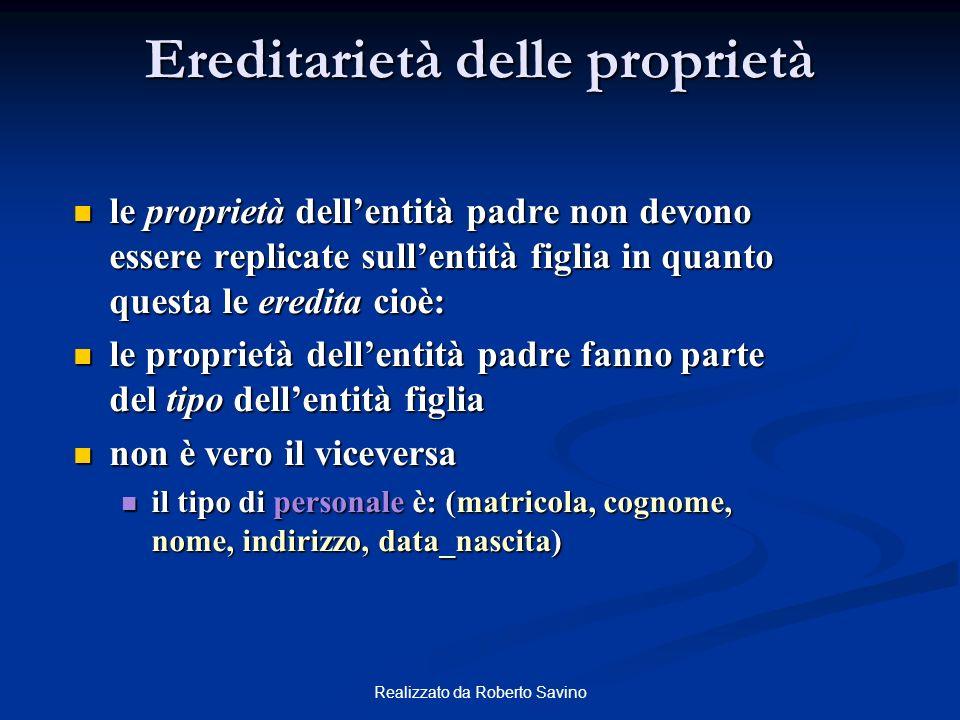 Realizzato da Roberto Savino Ereditarietà delle proprietà le proprietà dellentità padre non devono essere replicate sullentità figlia in quanto questa