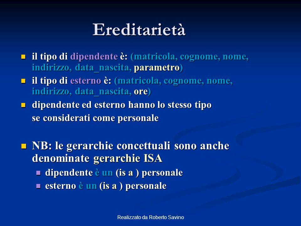 Realizzato da Roberto Savino Ereditarietà il tipo di dipendente è: (matricola, cognome, nome, indirizzo, data_nascita, parametro) il tipo di dipendent
