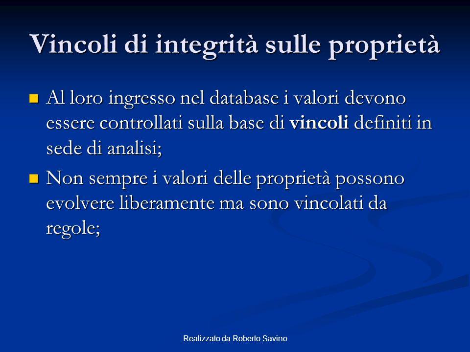 Realizzato da Roberto Savino Vincoli di integrità sulle proprietà Al loro ingresso nel database i valori devono essere controllati sulla base di vinco